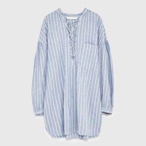 Zara Oversize Lace Up Tunic Dress  Blue Stripe S
